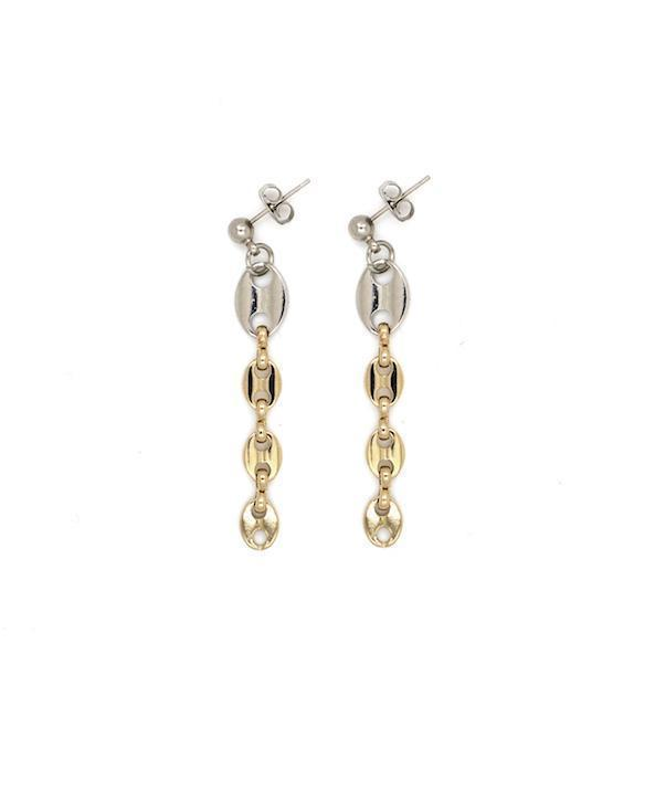 Justine Clenquet Joy Earrings Palladium and Pale Gold