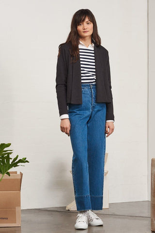Kowtow Building Block Cardigan Black Marle