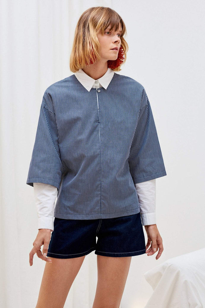 Kowtow Gallery Top Navy Stripe