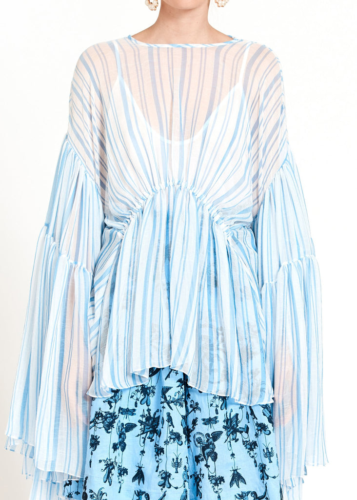 Romance Was Born Louis Stripe Tier Blouse Blue White