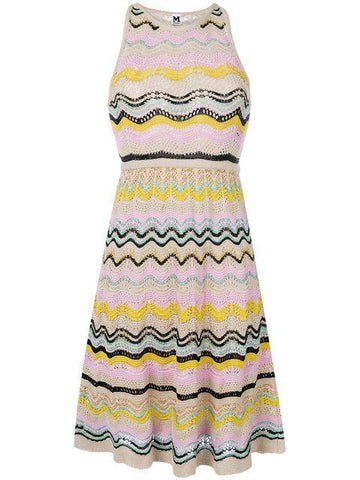M Missoni Sleeveless A Line Dress Champagne Multi