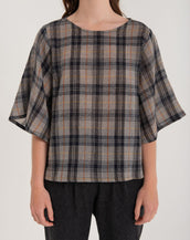 Kuwaii Obscura Top Charcoal Check