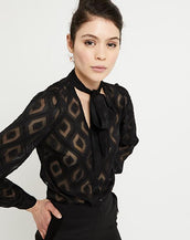 Ottod'Ame Sheer Geometric Shirt Nero