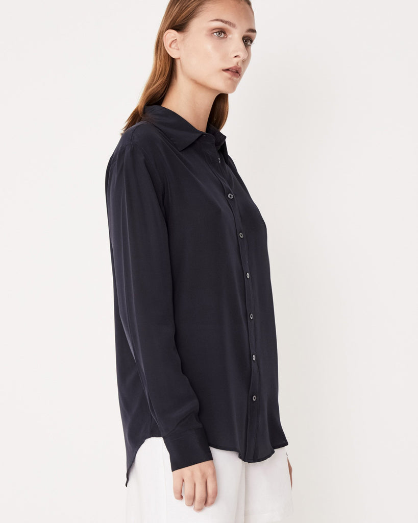 Assembly Label Essential Silk Shirt True Navy