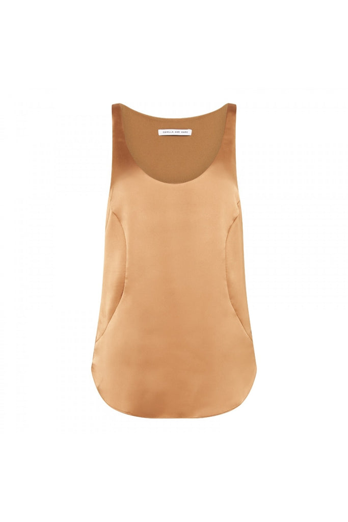 Camilla and Marc Aubrey Tank Tan Satin