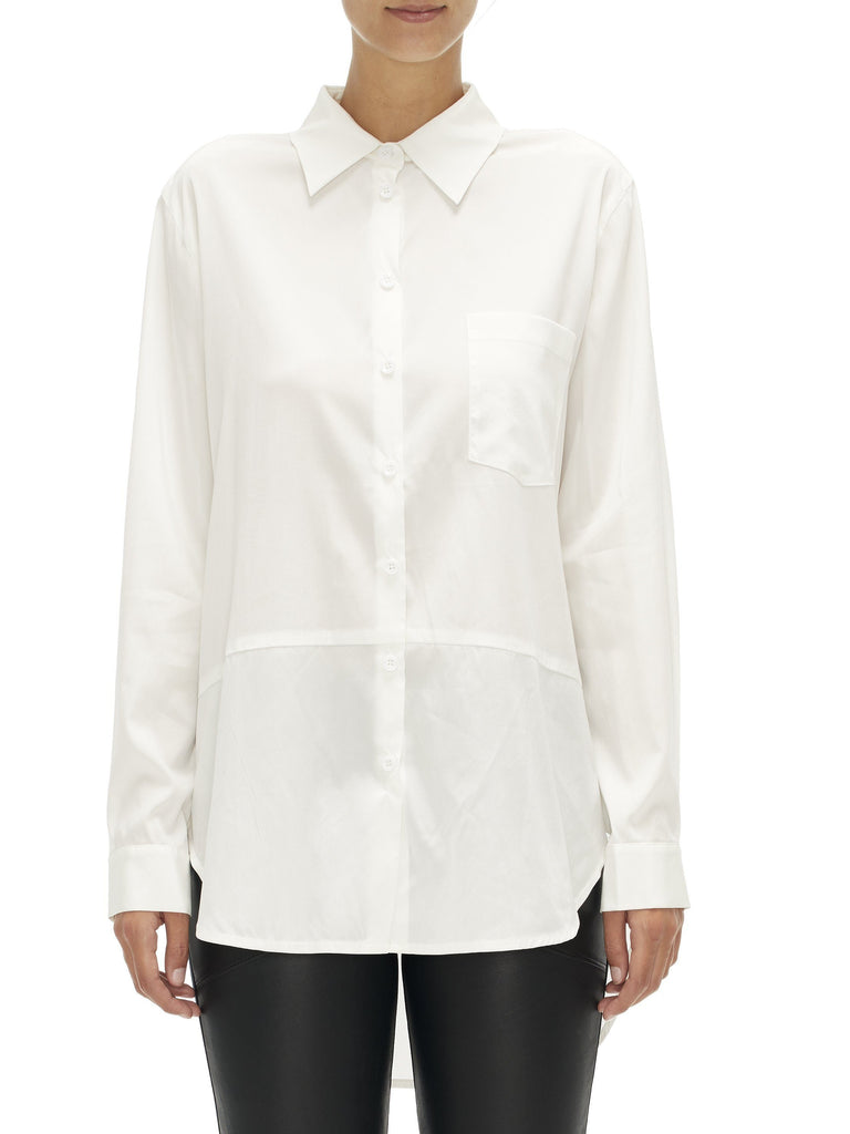 Sabatini / Classic Silk Shirt With Longer Back / White
