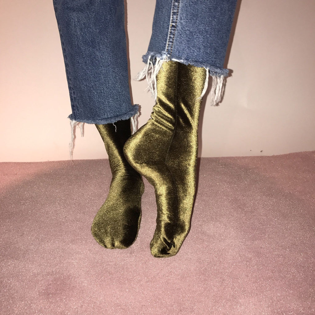 Velvet Sock's by Simone Wild Olive Green