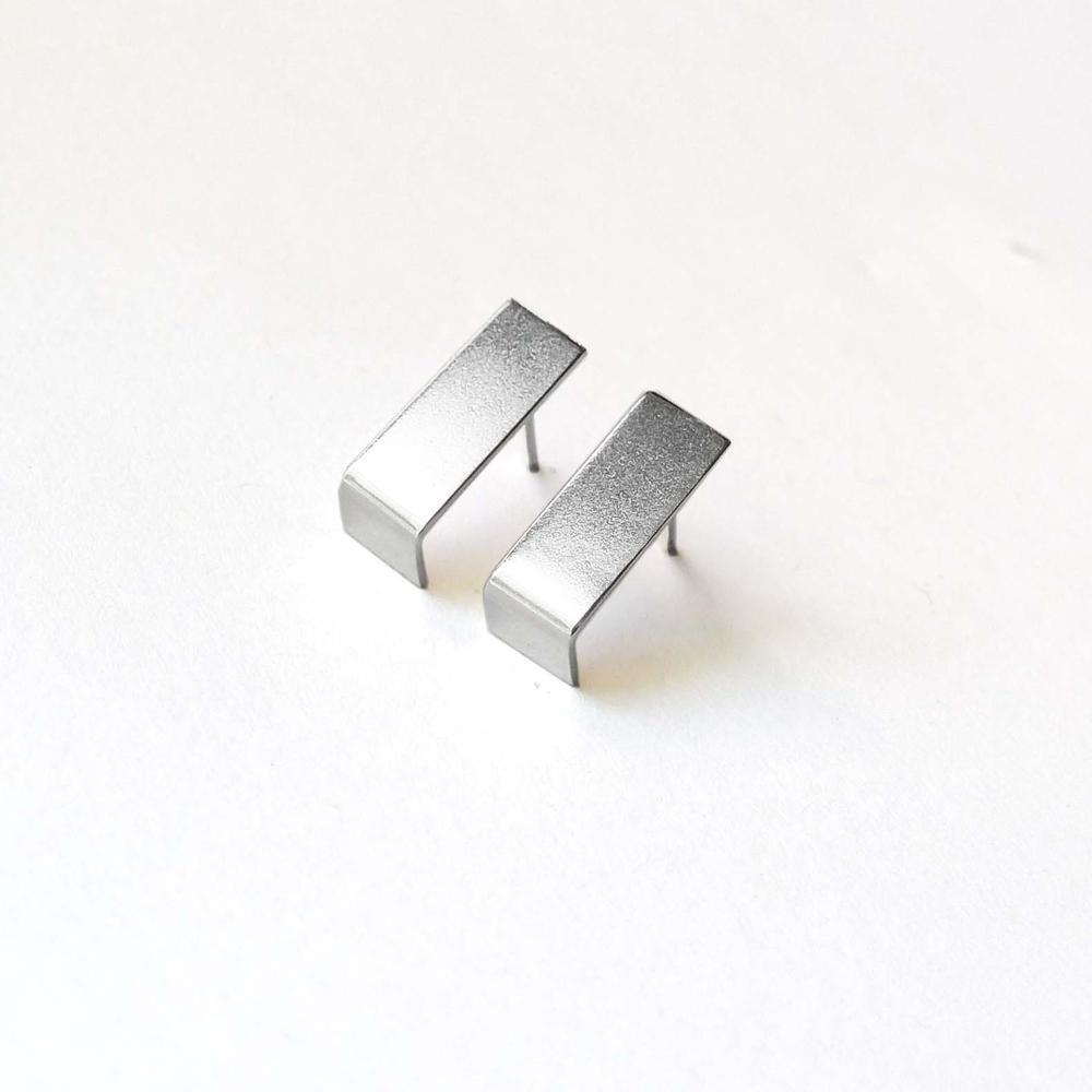 You Me Berlin Straight Angles Earrings Silver