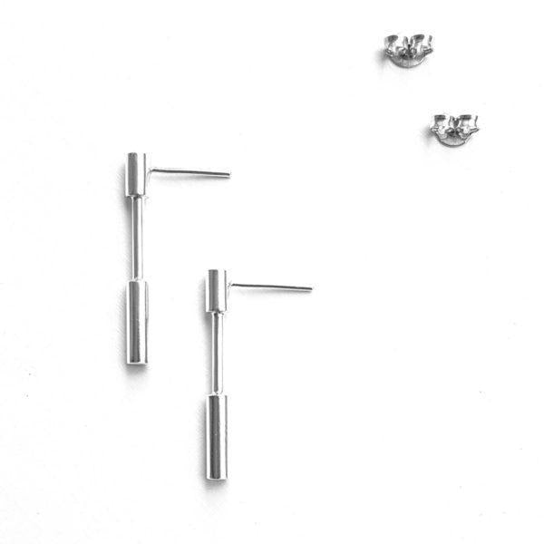 You Me Berlin Linear Drop Earrings Sterling Silver