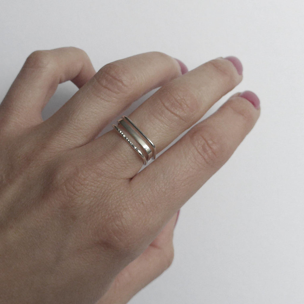 You Me Berlin Set of 3 Square Stacking Rings Multi Textured