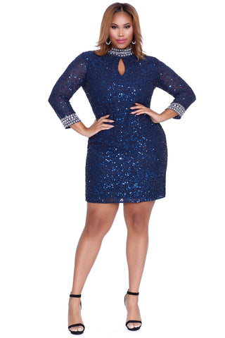 Brilliant Nights Navy Cocktail Dress 71039 - Kurves By Kimi