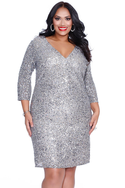 Sparkler Platinum Party Dress 73122 - Kurves By Kimi