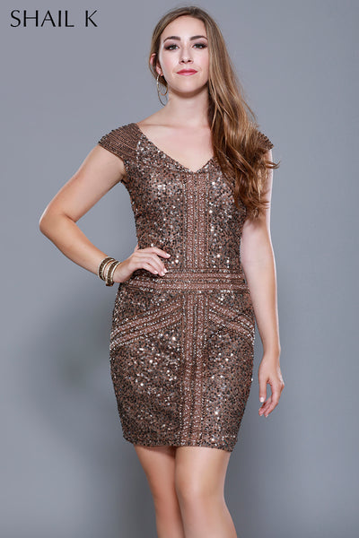 BLUSH BRONZE Body Hugging Cocktail Dress  - 21197W - Kurves By Kimi