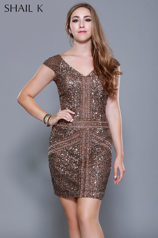 BRONZE Body Hugging Cocktail Dress  - 21197W - Kurves By Kimi