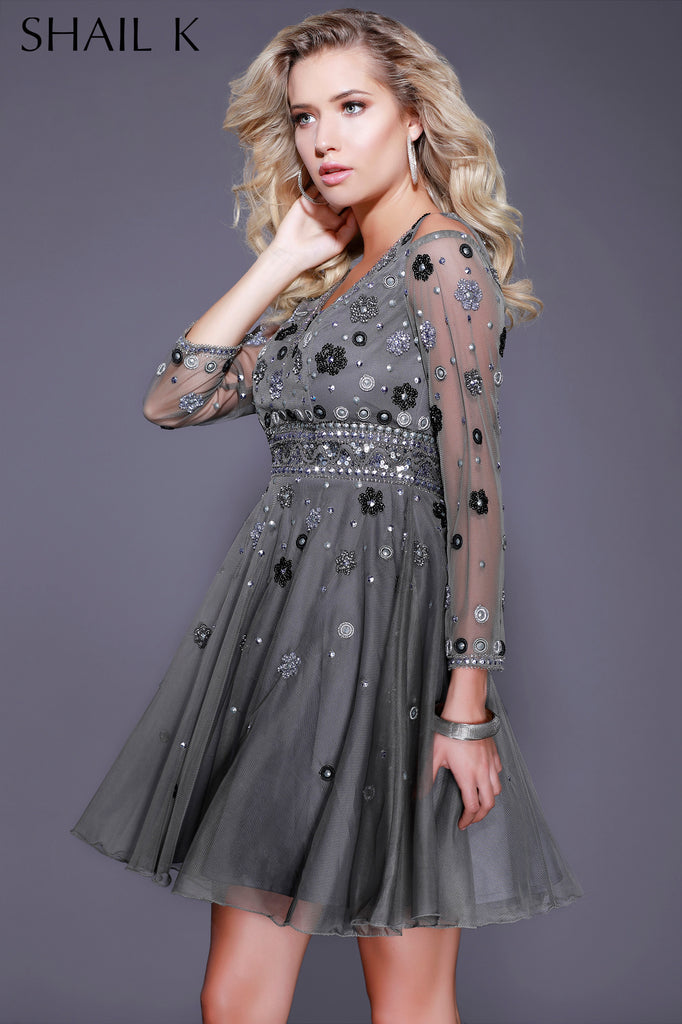 Grey Long Sleeve Flower Child Short Dress   - 21205 - Kurves By Kimi