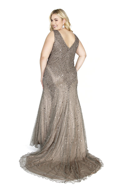 Kurves By Kimi Plus Size Sleeveless V-Neck Beaded Long Dark Lead Prom Dress 71143 Backview