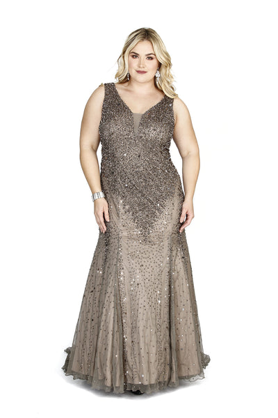Kurves By Kimi Plus Size Sleeveless V-Neck Beaded Long Dark Lead Prom Dress 71143 Front View