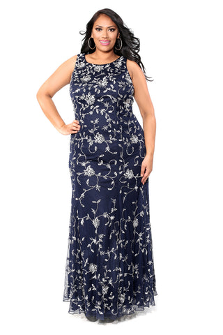 Embroidered Floral Navy Dress 71153 - Kurves By Kimi