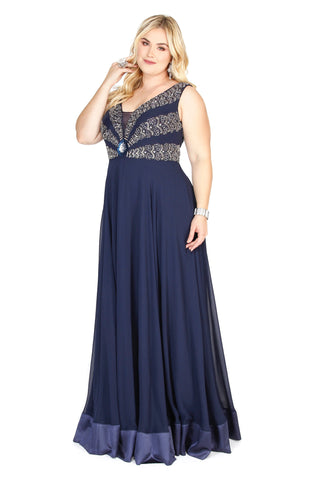 Kurves By Kimi Plus Size Navy V-Neck Chiffon Dress with Beaded Bodice style 71159L Front View #1