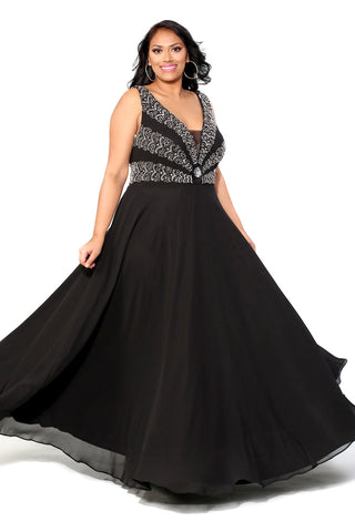 Kurves By Kimi Plus Size V-Neck Chiffon Dress with Beaded Bodice style 71159 Front View