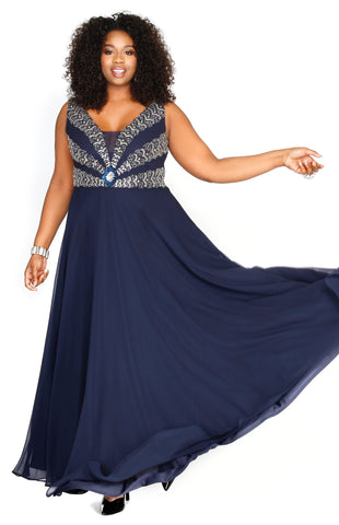 Kurves By Kimi Plus Size V-Neck Chiffon Dress with Beaded Bodice style 71159 Navy #1