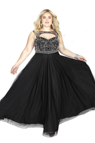 Embellished Sweetheart Black A-Line Prom Dress 71163 - Kurves By Kimi