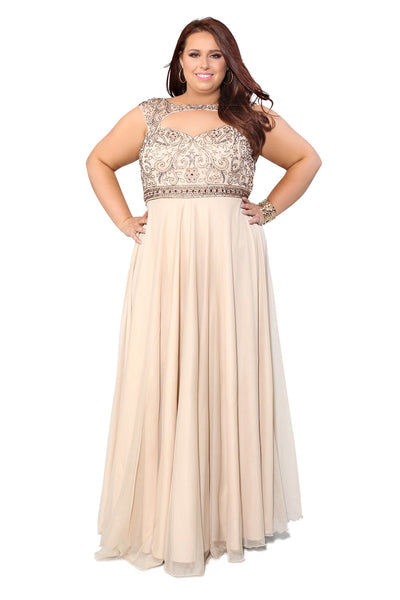 Embellished Fit To Flare A-Line Nude Prom Dress 71163 - Kurves By Kimi
