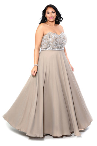 Embellished Strapless Gown 71164 - Kurves By Kimi