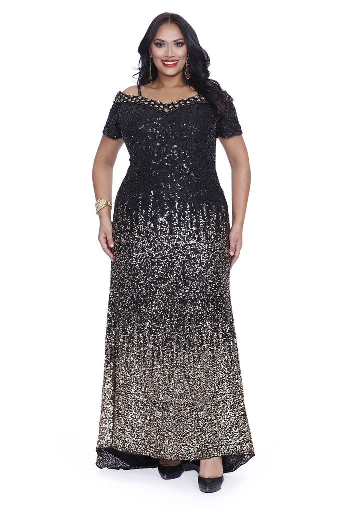 Kurves By Kimi Black Gold Sequins Off the Shoulder Plus Size Evening ...