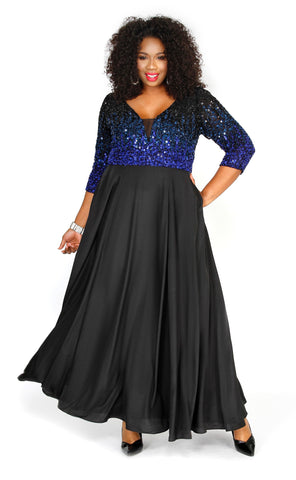 Sequin Navy Formal Dress 71193 - Kurves By Kimi