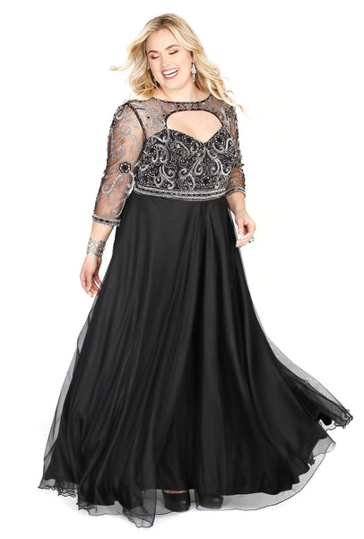 Embellished Long Sleeve Chiffon Black A-Line  Prom Dress 71194 - Kurves By Kimi