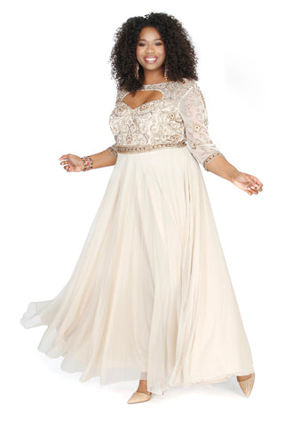 Embellished Long Sleeve Chiffon Nude A-Line  Prom Dress 71194 - Kurves By Kimi