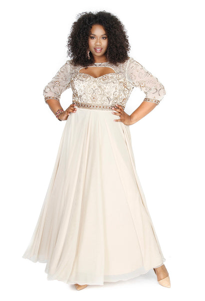 Plus-Size Embellished Illusion Gown