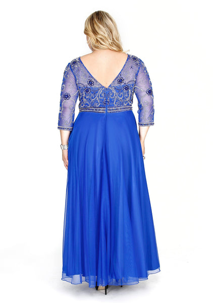 Embellished Long Sleeve Chiffon Royal A-Line  Prom Dress 71194 - Kurves By Kimi