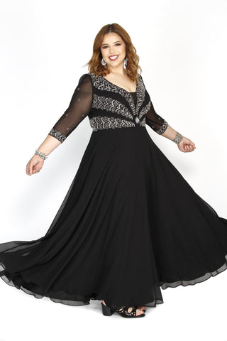 Embellished Long Sleeve Illusion Black Fit To Flare Prom Dress  71195 - Kurves By Kimi