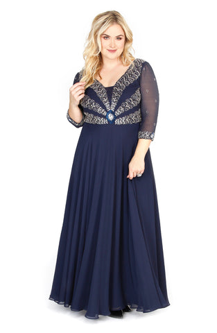 Embellished Long Sleeve Illusion Navy Fit To Flare Prom Dress  71195 - Kurves By Kimi