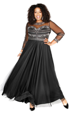 Sweetheart Embellished Black Gown 71196 - Kurves By Kimi