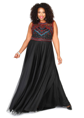Kurves By Kimi Plus-Size Black Sleeveless Prom Dress 71224  Front View
