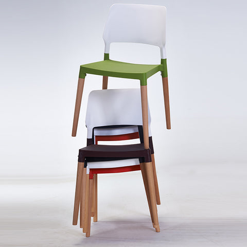 Nordic wood plastic back chair