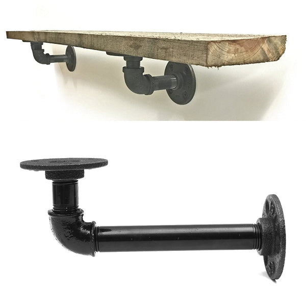 1 Pcs L Shaped Retro Industrial Iron Pipe Wall Bracket For Floating Shelves
