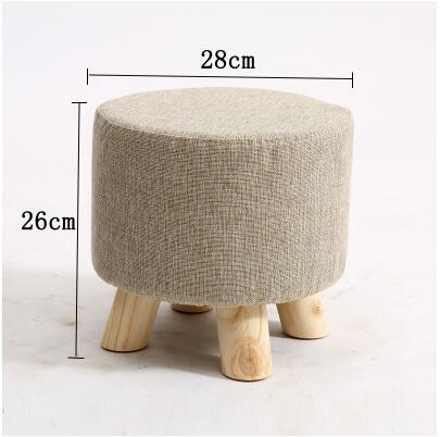 Upholstered Foot Stool W/ Wooden Legs