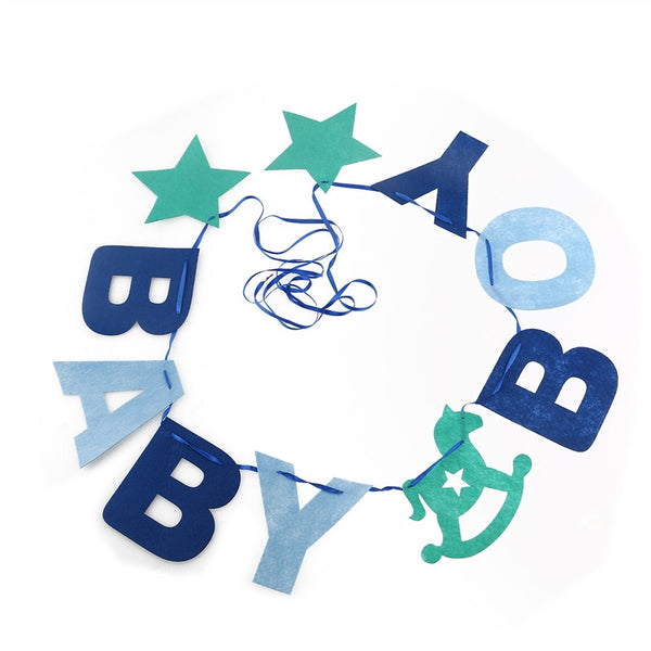 10pcs Baby Boy Felt Garland Bunting Banner Baby Shower Birthday Party Decoration