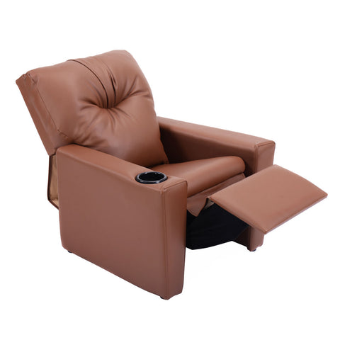 Kids Manual Recliner with Cup Holder in Pu Leather