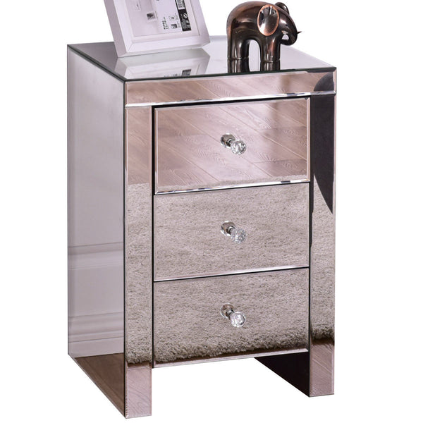 Giantex 3 Drawer Mirrored Nightstand Home Accent Table Chest Dresser Modern Storage Silver Glass Bedroom Furniture HW56405