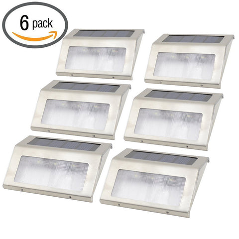 6pcs Stainless Steel Solar Step Lights (White)