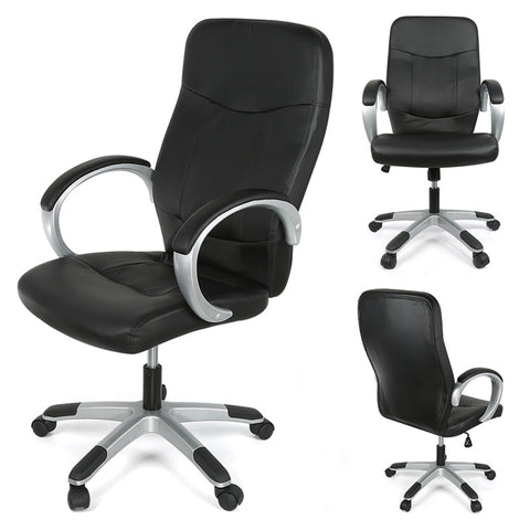 Comfortable Grey/black PU Leather Gas Lift Office Chair with Castors