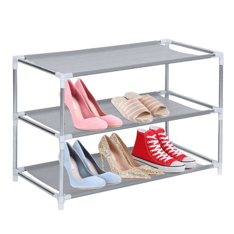 Stackable Metal/Fabric Shoe Rack