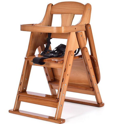 Folding & Adjustable Wooden Baby High Chair