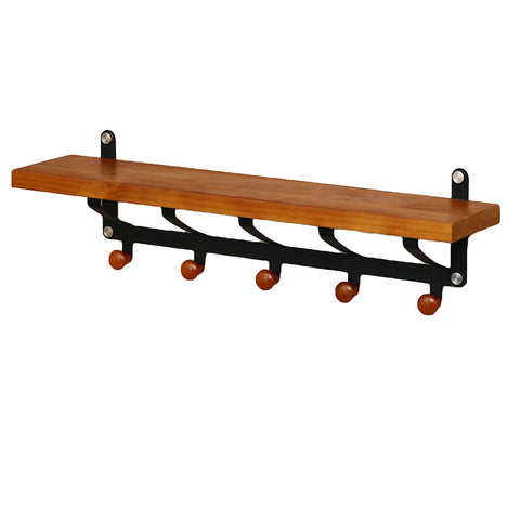 Wall Mounted 5 Hook Hanging Rack with Shelf