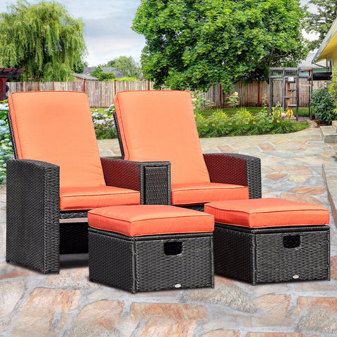 3 Piece Rattan Recliner Set with Adjustable Backrest and Ottoman